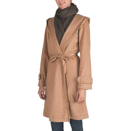 Emu Harrington Hooded Wrap Jacket - Merino Wool (For Women) in Taupe