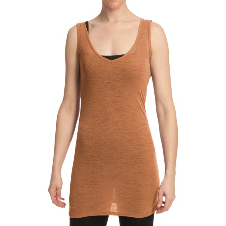 Emu Mullaway V-Neck Tunic Tank Top - Merino Wool (For Women) in Mandarin