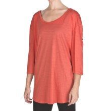 Emu Ningaloo Over-Sized Shirt - Merino Wool, Long Button-Tab Sleeve (For Women) in Coral - Closeouts