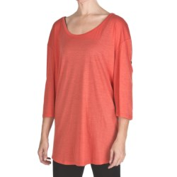 Emu Ningaloo Over-Sized Shirt - Merino Wool, Long Button-Tab Sleeve (For Women) in Coral