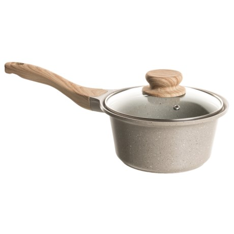 Enchante Country Kitchen Nonstick Saucepan with Glass Lid - 1.2 qt. in Beige