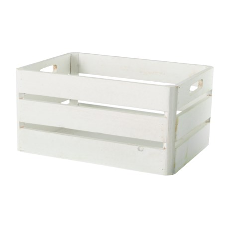 Enchante Small Rectangle Wood Storage Bin in White