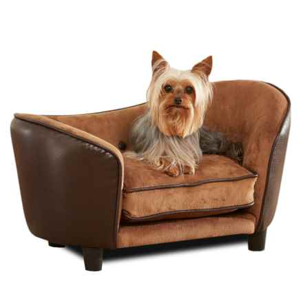 Enchanted Home Pet Ultra Plush Snuggle Dog Sofa - Small in Brown - Closeouts