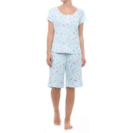 ENCORE Avalon Bermuda Pajamas - Short Sleeve (For Women) in Aqua Floral - Closeouts