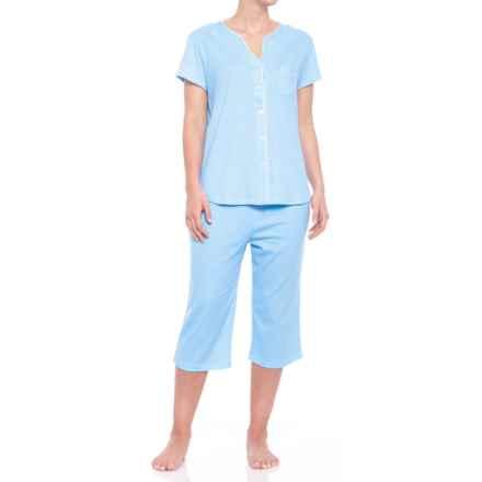 ENCORE Delfina Cardigan Capris Pajamas - Short Sleeve (For Women) in Blue Horizontal Stripe - Closeouts
