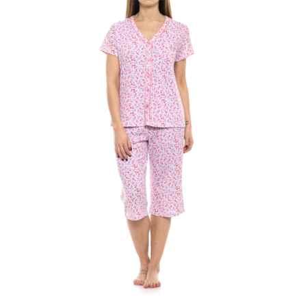 ENCORE Steel Magnolias Capris Pajamas - Short Sleeve (Fop Women) in Coral Ditsy - Closeouts