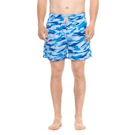 Endless Summer Printed E-Board Swim Trunks - Built-In Mesh Briefs (For Men) in Camo Blue - Closeouts