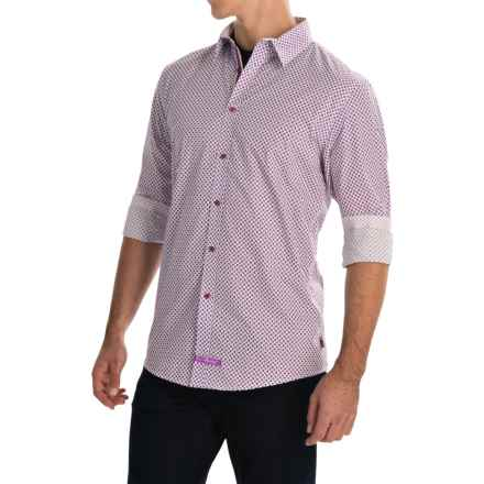 English Laundry Diamond Print Sport Shirt - Long Sleeve (For Men) in Ivory/Plum - Closeouts
