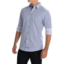 English Laundry Diamond Print Sport Shirt - Long Sleeve (For Men) in White/Blue - Closeouts