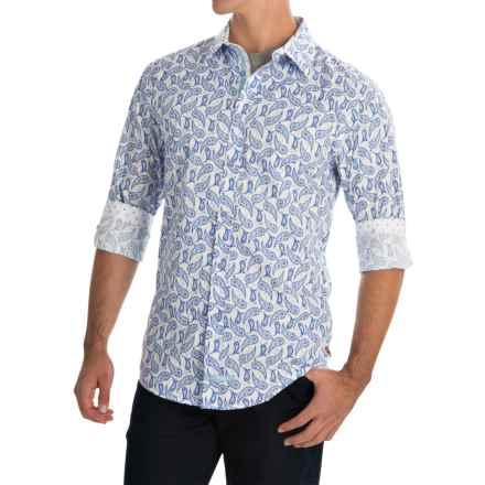 English Laundry Paisley Print Sport Shirt - Long Sleeve (For Men) in White/Blue - Closeouts