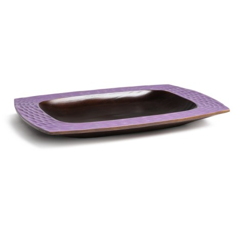 """Enrico Mango Wood Honeycomb Serving Platter - 12x16"""" in Orchid/Brown"""