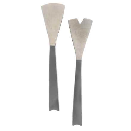 Enrico Mango Wood Salad Servers in Steel Gray - Closeouts