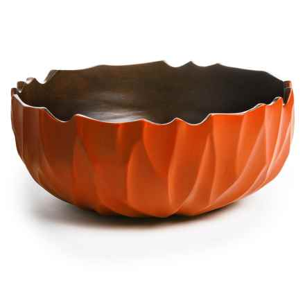 "Enrico Ropetwist Bowl - Mango Wood, 4x10"" in Tangerine - Closeouts"