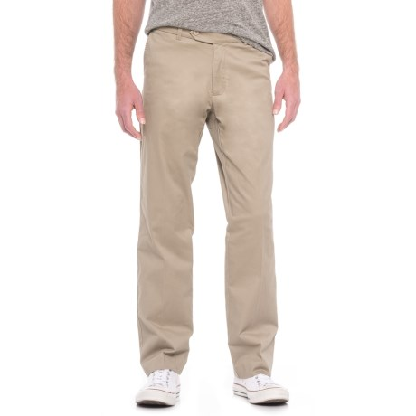 Enro Stretch Cotton Pants - Flat Front (For Men) in Stone