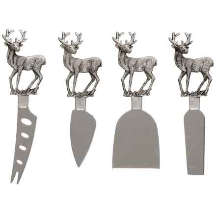Entertainer Stag Deer Cheese Knife Set - 4-Piece in See Photo - Closeouts