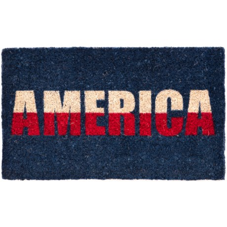 "Entryways ""America"" Handwoven Coir Doormat - 18x30"" in Blue/Red/White"