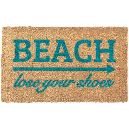 "Entryways ""Lose Your Shoes"" Handwoven Coir Doormat - 18x30"" in Blue/Natural - Closeouts"