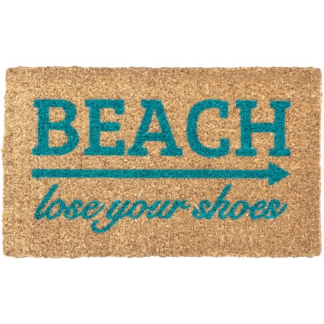 "Entryways ""Lose Your Shoes"" Handwoven Coir Doormat - 18x30"" in Blue/Natural"