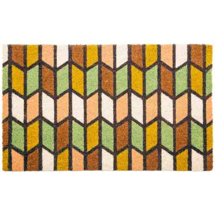 "Entryways Earth Tones Coir Doormat - 17x28"" in Green/Brown/Gold - Closeouts"