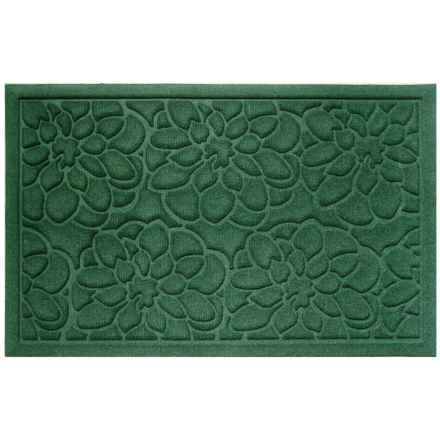 "Entryways Flowers Weather Beater Doormat - 22x35"" in Green - Closeouts"
