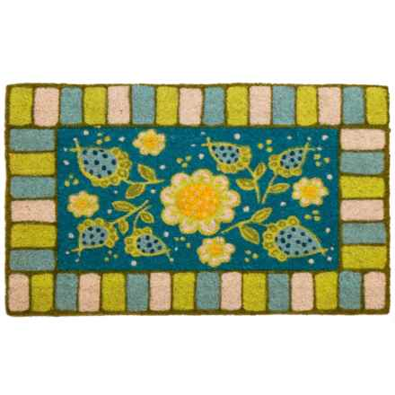 "Entryways Garden Coir Doormat - 17x28"" in Blue - Closeouts"