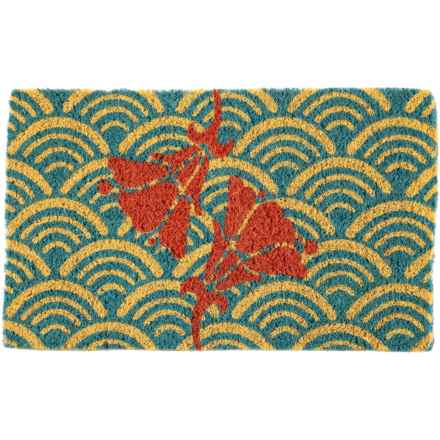 "Entryways Handwoven Coir Doormat - 18x30"" in Scalloped Floral - Closeouts"