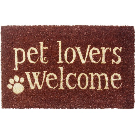 """Entryways Handwoven Coir Entry Mat - 17x28"""" in Pet Lovers Welcome"""