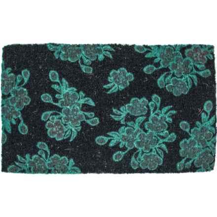 """Entryways Handwoven Floral Coir Doormat - 18x30"""" in Aqua/Black - Closeouts"""