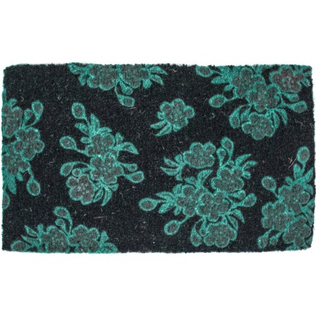 "Entryways Handwoven Floral Coir Doormat - 18x30"" in Aqua/Black"