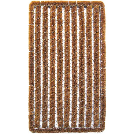 Entryways Rectangular Stripe Wire Brush Bootscraper Coir Entry Mat 18x30