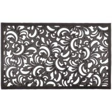 Entryways Recycled Rubber Door Mat in Scroll Flowers - Closeouts