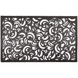 Entryways Recycled Rubber Door Mat in Scroll Flowers