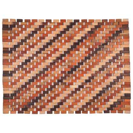 "Entryways Roosevelt Exotic Wood Doormat - 18x30"" in Brown Multi - Closeouts"