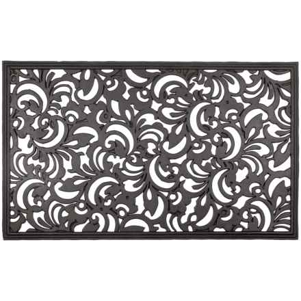 "Entryways Scroll Flowers Recycled Rubber Doormat - 18x30"" in Black - Closeouts"