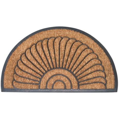 """Entryways Shells Half-Moon Bootscraper Doormat - 18x30"""" in Black/Natural"""