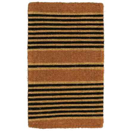"""Entryways Ticking Stripes Black Hand-Woven Coconut Fiber Door Mat - 18x30"""" in Ticking Stripes - Closeouts"""