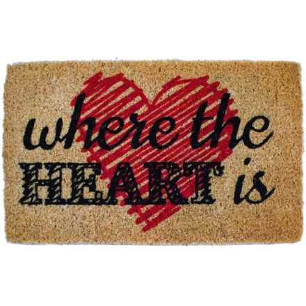 """Entryways Where the Heart Is Coir Doormat - 18x30"""" in Black/Red/Natural - Closeouts"""
