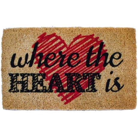 "Entryways Where the Heart Is Coir Doormat - 18x30"" in Black/Red/Natural"
