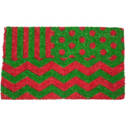 "Entryways Wrapping Paper Doormat - 18x30"", Coconut Fiber Coir in Green/Red - Closeouts"