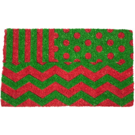 "Entryways Wrapping Paper Doormat - 18x30"", Coconut Fiber Coir in Green/Red"