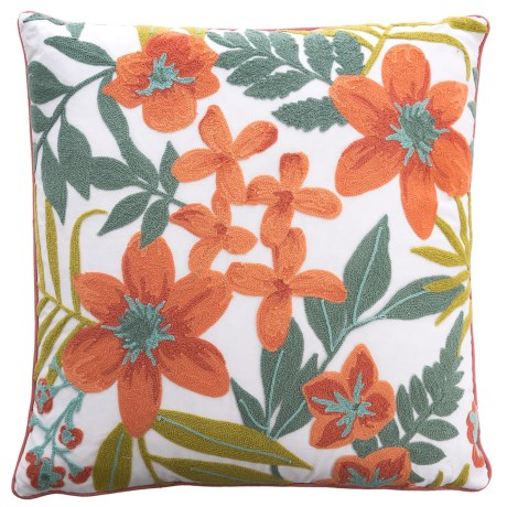 """EnVogue Ambretta Floral Throw Pillow - 20x20"""", Feathers in Blush"""