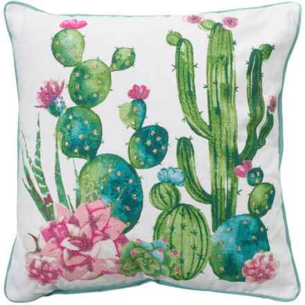 "EnVogue Cactus Pink Double Slub Throw Pillow - 20x20"", Feathers in Seafoam - Closeouts"