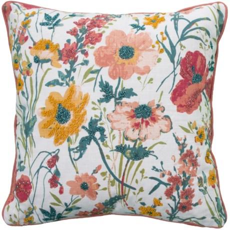 """EnVogue Delia Double Slub Throw Pillow - 20x20"""", Feathers in Pink"""