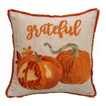 "EnVogue Embroidered Grateful Two Pumpkins Throw Pillow - 20x20"", Feathers in Multi - Closeouts"