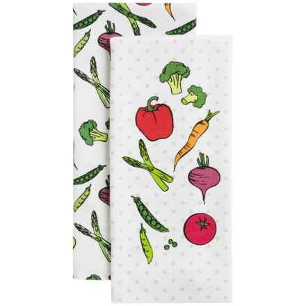 Envogue Herringbone Kitchen Towels - Set of 2 in Veggie Toss Multi - Closeouts