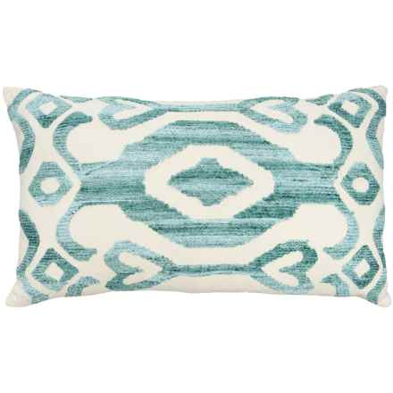 """EnVogue Kasuri Chenille Embroidered Throw Pillow - 24x14"""", Feathers in Seafoam - Closeouts"""