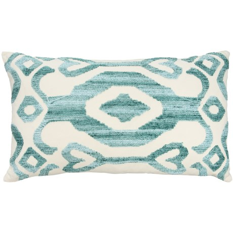 "EnVogue Kasuri Chenille Embroidered Throw Pillow - 24x14"", Feathers in Seafoam"
