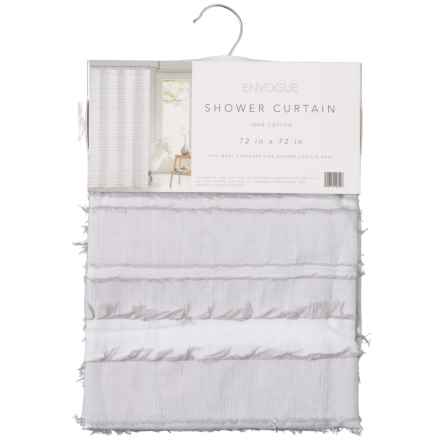 "EnVogue Moncheri Shower Curtain - 72x72"" in White Grey - Closeouts"
