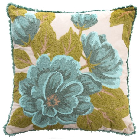 """EnVogue Myra Floral Fringed Throw Pillow - 20x20"""", Feathers in Aqua"""
