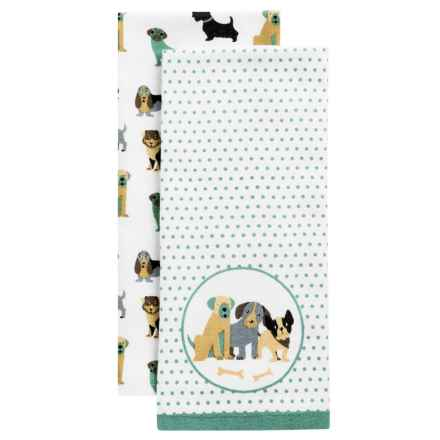 Envogue Pets Kitchen Towel - Set of 2 in Polka Dogs Sage - Closeouts